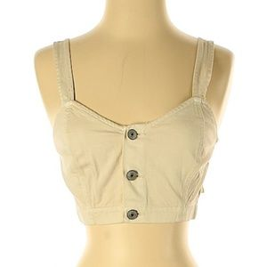 American Eagle Sleeveless Button Down Cropped Top